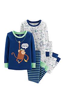 Baby Boys Monkey Snug Fit Cotton Pajamas