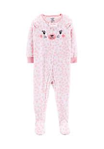 Baby Girls 1-Piece Cat Fleece PJs