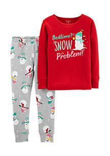 carters infant girls 2 piece christmas snowman snug fit cotton pjs