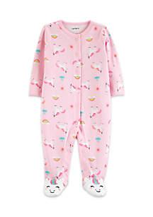 Baby Girls Unicorn Snap-Up Cotton Sleep & Play