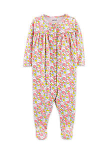 Baby Girls Floral Snap-Up Cotton Sleep & Play