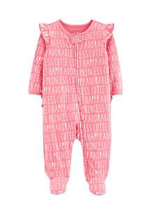 Baby Girls Slogan Zip-Up Cotton Sleep & Play