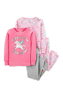 Baby Girls 4-Piece Unicorn Snug Fit Cotton Pajama Set