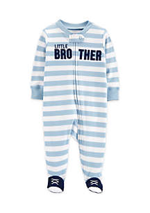 Baby Boys Little Brother Zip-Up Cotton Sleep & Play
