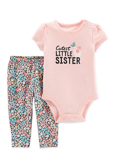 Carter's® Baby Girls 2-Piece Little Sister Bodysuit Pant
