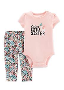 Baby Girls 2-Piece Little Sister Bodysuit Pant Set