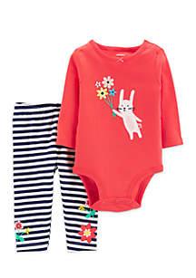 Baby Girls 2-Piece Bunny Bodysuit Pant Set