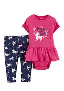 Baby Girls 2-Piece Unicorn Peplum Bodysuit Pant Set