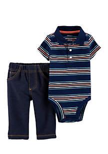 Baby Boys 2-Piece Polo Style Bodysuit Pant Set