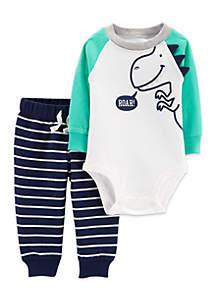Baby Boys 2-Piece Dinosaur Bodysuit Pant Set