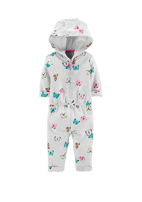Baby Girls Hooded Zip-Up Butterfly Jumpsuit