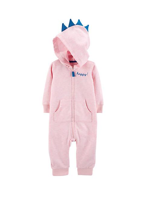 Carter's® Baby Girls Hooded Dinosaur Jumpsuit