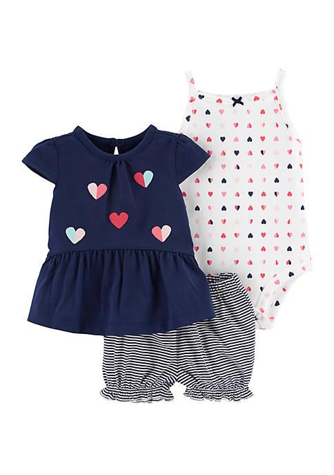 Baby Girls 3-Piece Heart Little Short Set