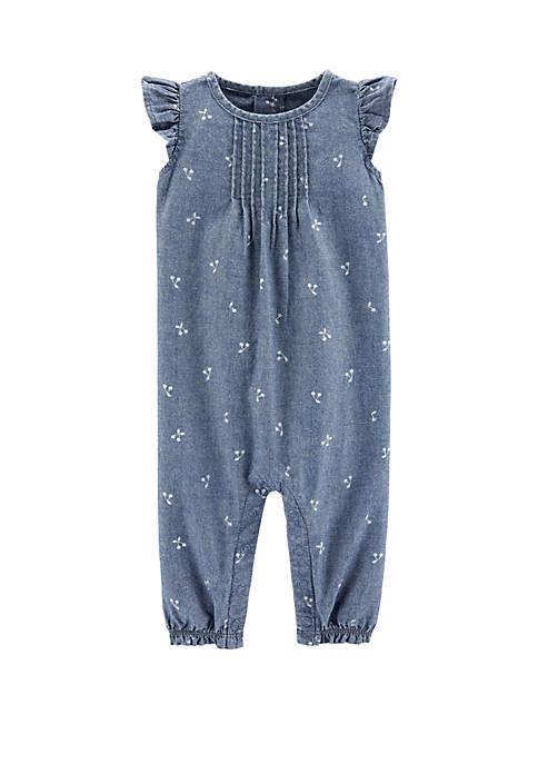 Carter's® Baby Girls Chambray Flutter Jumpsuit