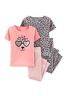 Carter's® Baby Girls Sunglass Leopard 4-Piece Snug Fit Pajama Set