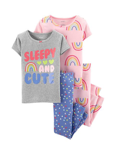 Baby Girls 4-Piece Rainbow Snug Fit Pajamas