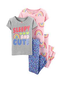 Carter's® Baby Girls 4-Piece Rainbow Snug Fit Pajamas