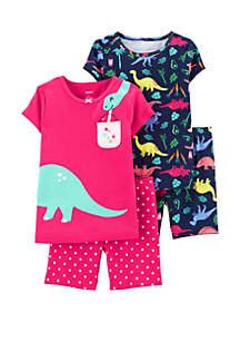 Carter's® Baby Girls 4 Piece Dinosaur Snug Fit Cotton Pajama Set