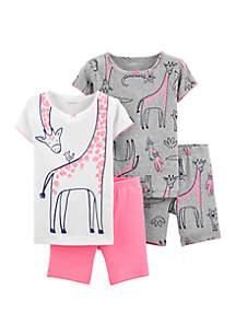 Carter's® Toddler Girls 4 Piece Giraffe Snug Fit Cotton Pajama Set