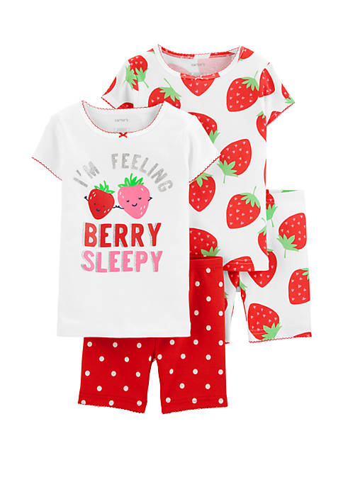 Carter's® Baby Girls 4 Piece Strawberry Snug Fit