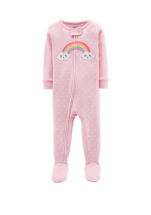 Baby Girls Rainbow Snug Fit Cotton Footie Pajamas