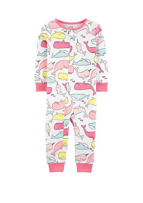 Toddler Girls Whales Snug Fit Cotton Footless Pajamas
