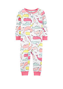 Carter's® Toddler Girls Whales Snug Fit Cotton Footless Pajamas