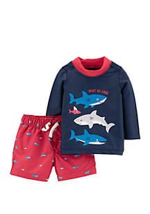 Baby Boys Shark 2-Piece Swimsuit
