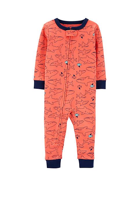 Baby Boys One Piece Snug Fit Shark Cotton Footless Pajamas