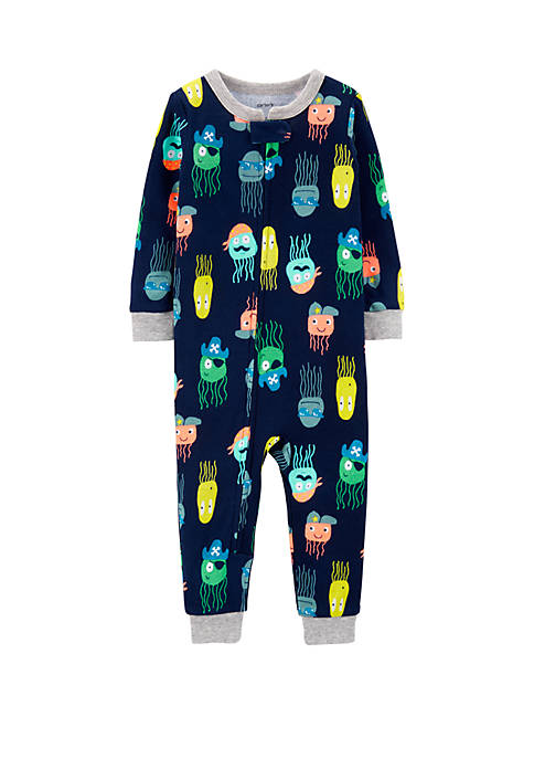 Baby Boys One-Piece Jellyfish Snug Fit Cotton Footless Pajamas