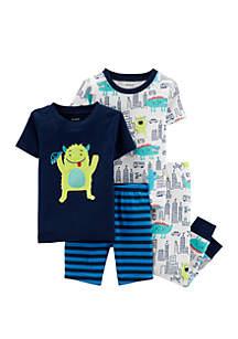 Carter's® Baby Boys 4-Piece Monster Snug Fit Cotton Pajama Set