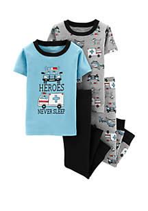 Carter's® Baby Boys 4-Piece Rescue Vehicles Snug Fit Cotton Pajama Set