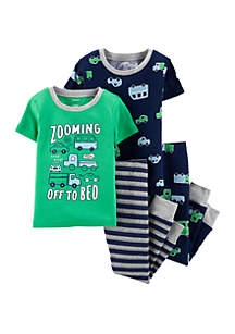 Carter's® Baby Boys 4-Piece Cars Snug Fit Cotton Pajama Set