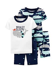Carter's® Baby Boys 4 Piece Whale Snug Fit Cotton Pajama Set