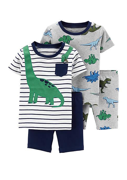 Toddler Boys 4 Piece Dinosaur Snug Fit Cotton Pajama Set