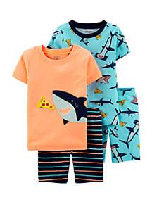 Carter's® Baby Boys 4 Piece Neon Shark Snug Fit Cotton Pajama Set