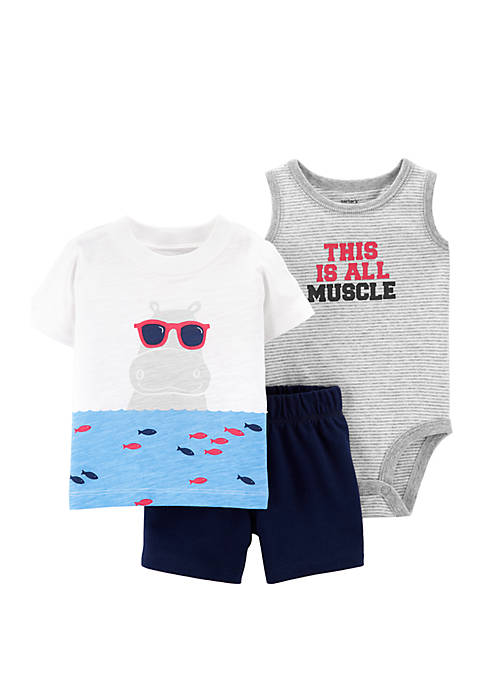 Carter's® Baby Boys 3-Piece Hippo Little Short Set