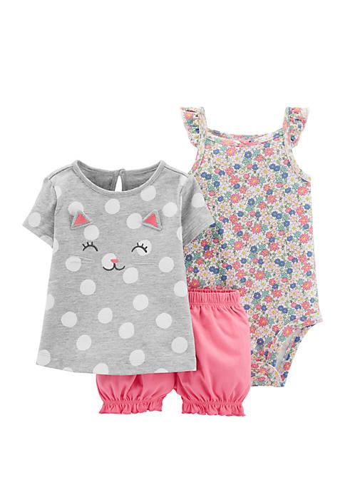 Baby Girls 3-Piece Little Bubble Short Set