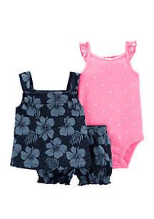 Carter's® Baby Girls 3 Piece Floral Little Short Set