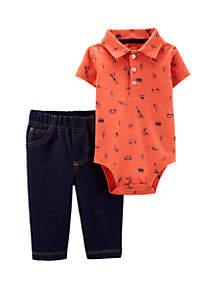 cbc120713 ... Carter's® Baby Boys 2-Piece Schiffli Polo Bodysuit Pant Set