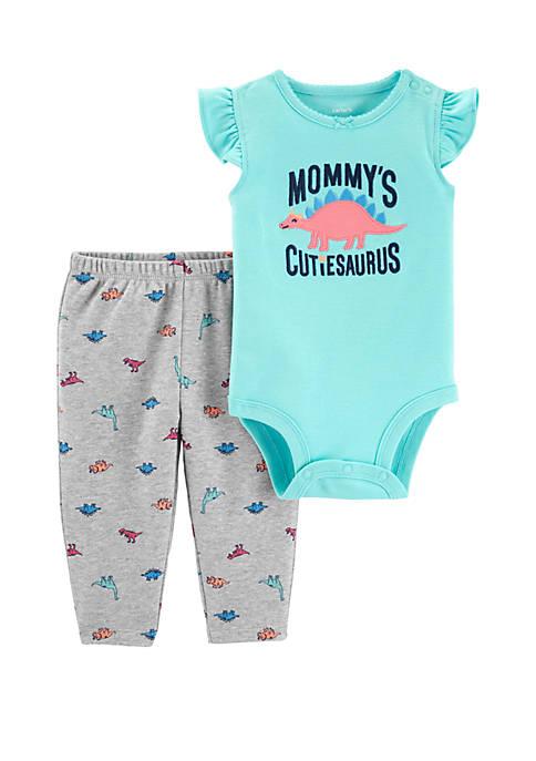 Carter's® Baby Girls Dinosaur Bodysuit Pant Set