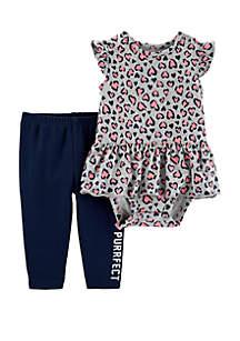 Baby Girls Heart Peplum Bodysuit Pant Set
