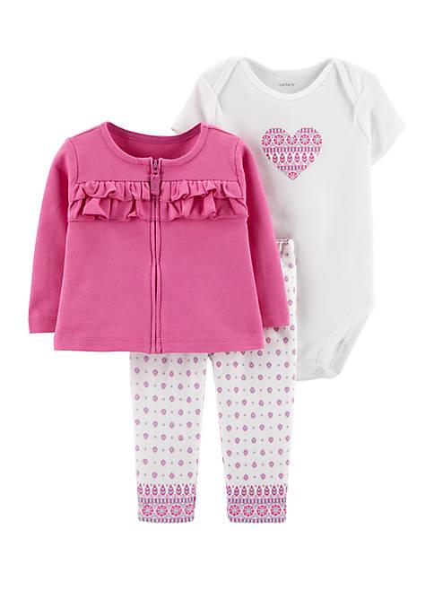 Carter's® Baby Girls 3-Piece Heart Cardigan Set