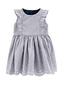 44a76631d03 ... Carter s® Baby Girls Striped Eyelet Dress