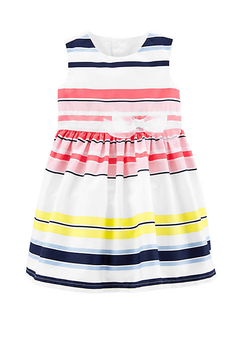 Carter's® Baby Girls Striped Sateen Dress