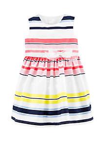 Carter's® Baby Girls Striped Sateen Dress