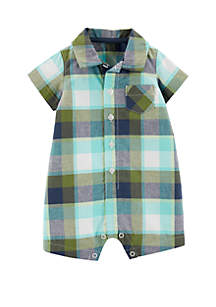 Carter's® Baby Boys Plaid Button-Front Romper