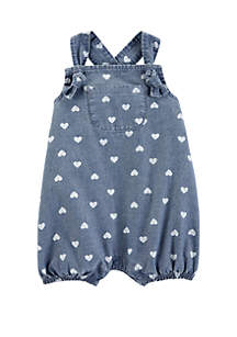 Baby Girls Heart Chambray Bubble Romper