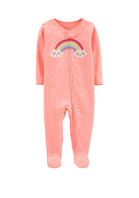 Carter's® Baby Girls Rainbow Zip-Up Cotton Sleep &