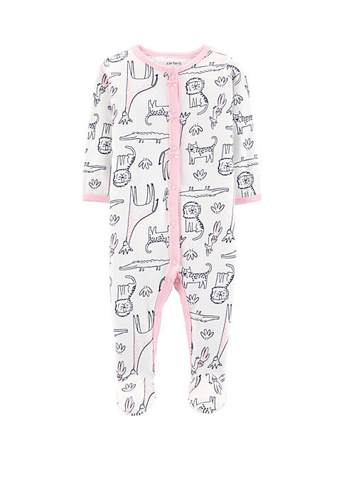 Carter's® Baby Girls Safari Animal Snap-Up Cotton Sleep